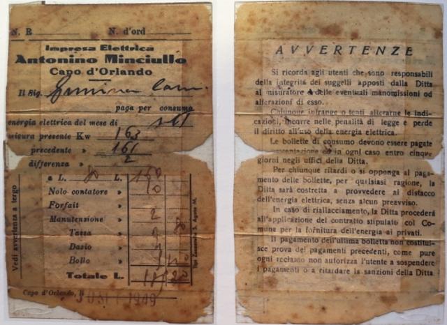 1949 - Bolletta dell'Impresa Elettrica Antonino Minciullo