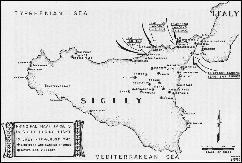 Principal NAAF targets in Sicily during Husky